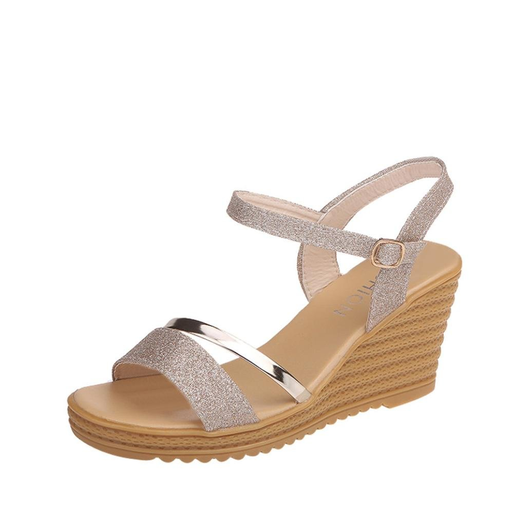 Women Shoes, Limsea Round Toe Non-Slip Platform High Heels Buckle Sequins Sandals Shoes