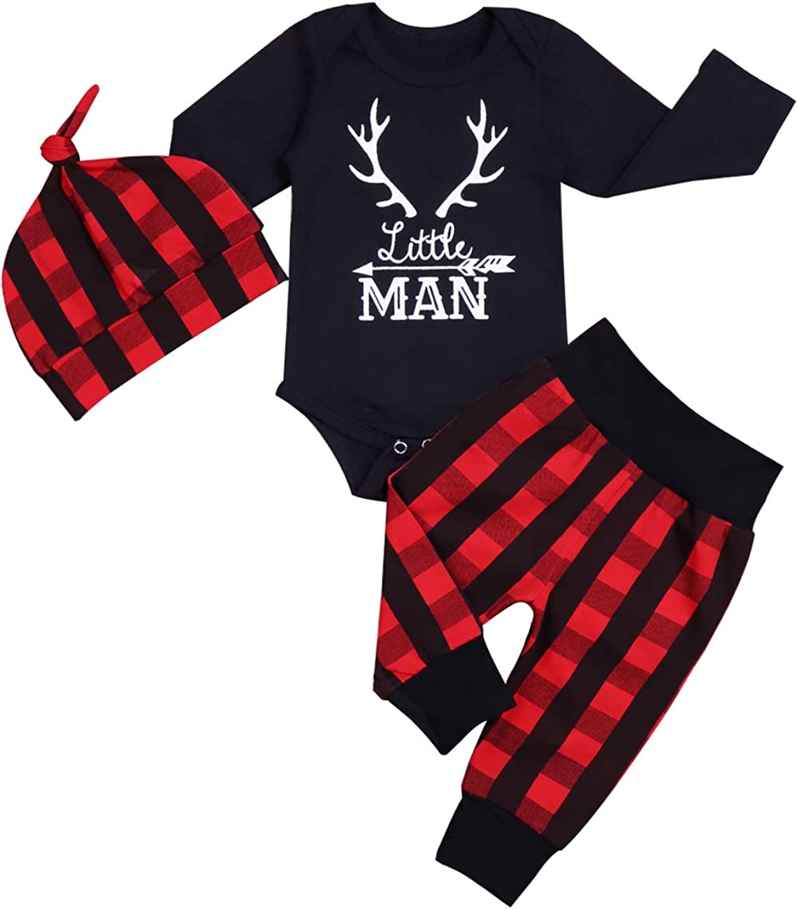 Newborn Infant Baby Boy Clothes Long Sleeve Romper,Deer Plaid Pant+ Little Man Hat 3Pcs Outfits Set