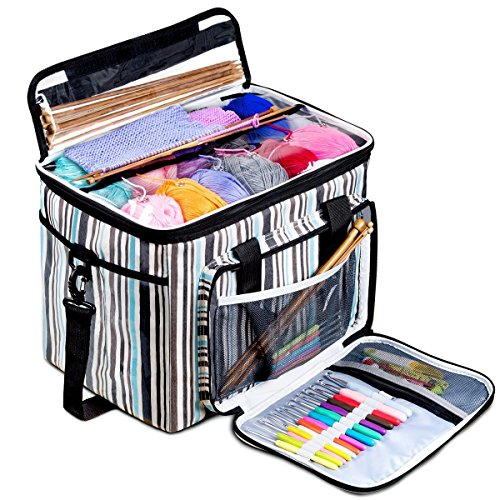 BONTIME Knitting Bag - High Capacity Striped Yarn Storage Tote Bag,Project Bags with Roomy Interior,Great for Organizing Everything You Need for Each of Projects,Large by BONTIME