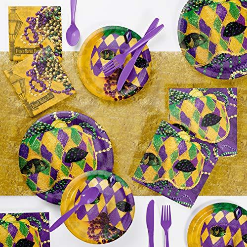 Masks of Mardi Gras Party Supplies Kit, Serves -