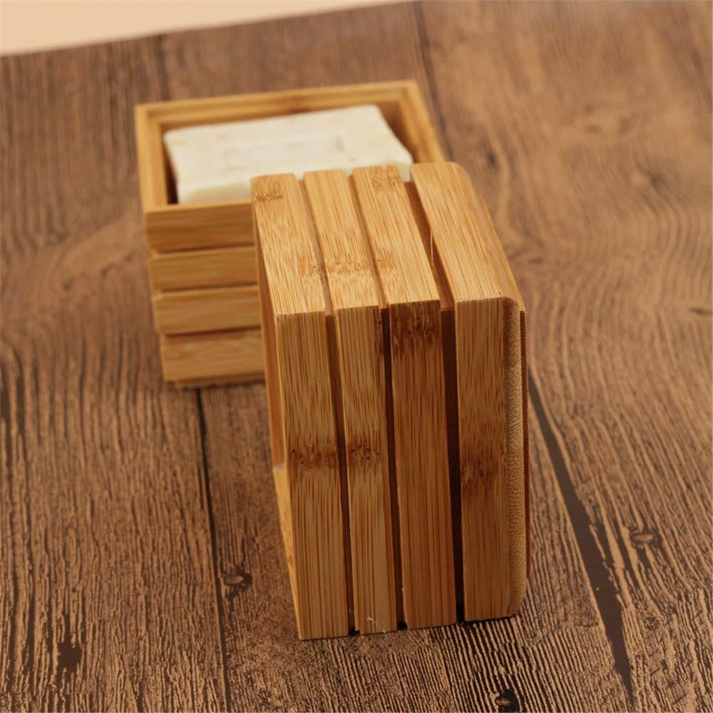 contenedor de Almacenamiento para jab/ón o esponjas de ba/ño Soporte para jab/ón 2 Unidades con Tapa Happyshop 18 Jabonera de bamb/ú Natural