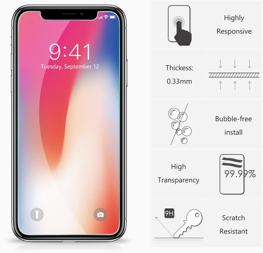 HD Displayschutzfolie 2 St/ück 9H H/ärte f/ür iPhone XS, iPhone X NEWC PanzerglasFolie Schutzfolie f/ür iPhone 11 Pro 0.33mm Ultra-klar Frei von Kratzern Fingabdr/ücken und /Öl