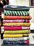 Maniona Crafts Wholesale lot of 10 Twin Size Tribal Kantha Quilts Vintage Cotton Bed Cover Throw Old Sari Made Assorted Patches Made Rally Whole Sale Blanket