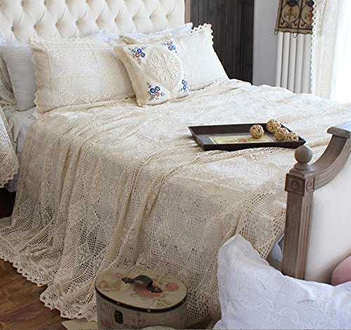 Hughapy Vintage American Cotton Bedding Thread Imitation of Hand Crochet Hook Flower Bed Cover Beige