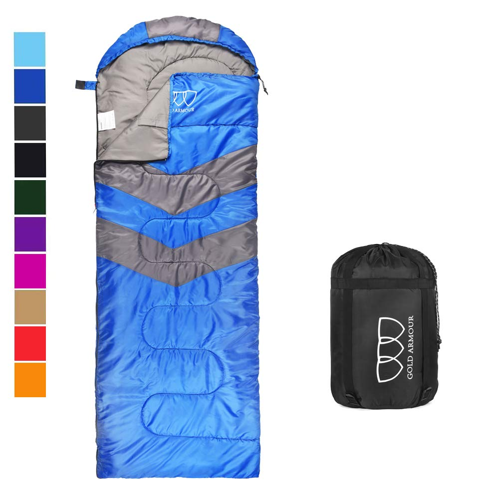 Sleeping Bag - Sleeping Bag for Indoor & Outdoor Use - Great for Kids, Boys, Girls, Teens & Adults. Ultralight and Compact Bags for Sleepover, Backpacking & Camping (Blue / Gray - Right Zipper) by Gold Armour