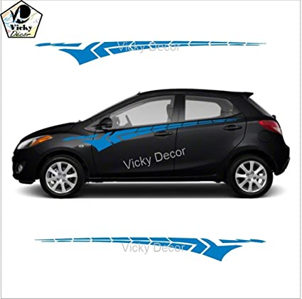 Vicky Decor Car Side Sticker CRS053 Blue Full Body Glossy Finish Size 60inch X 6
