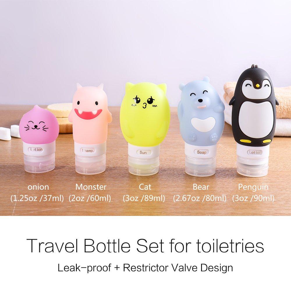 Nozdom Contenitori da Viaggio in Silicone per shampoo protezione solare 5* Set Bottiglie da Viaggio sapone lozioni balsamo Accessori da viaggio in aereo Bottiglia Modello A gel doccia