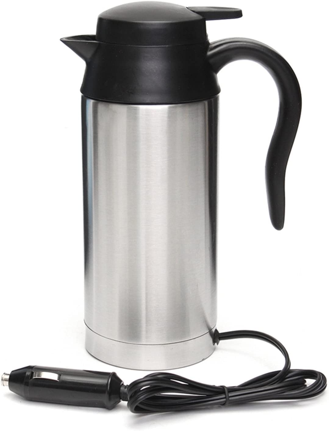 12V 750ml Stainless Steel Car Electric Heating Mug Drinking Cup Travel Kettle Water Boiler for Water Tea Coffee Milk