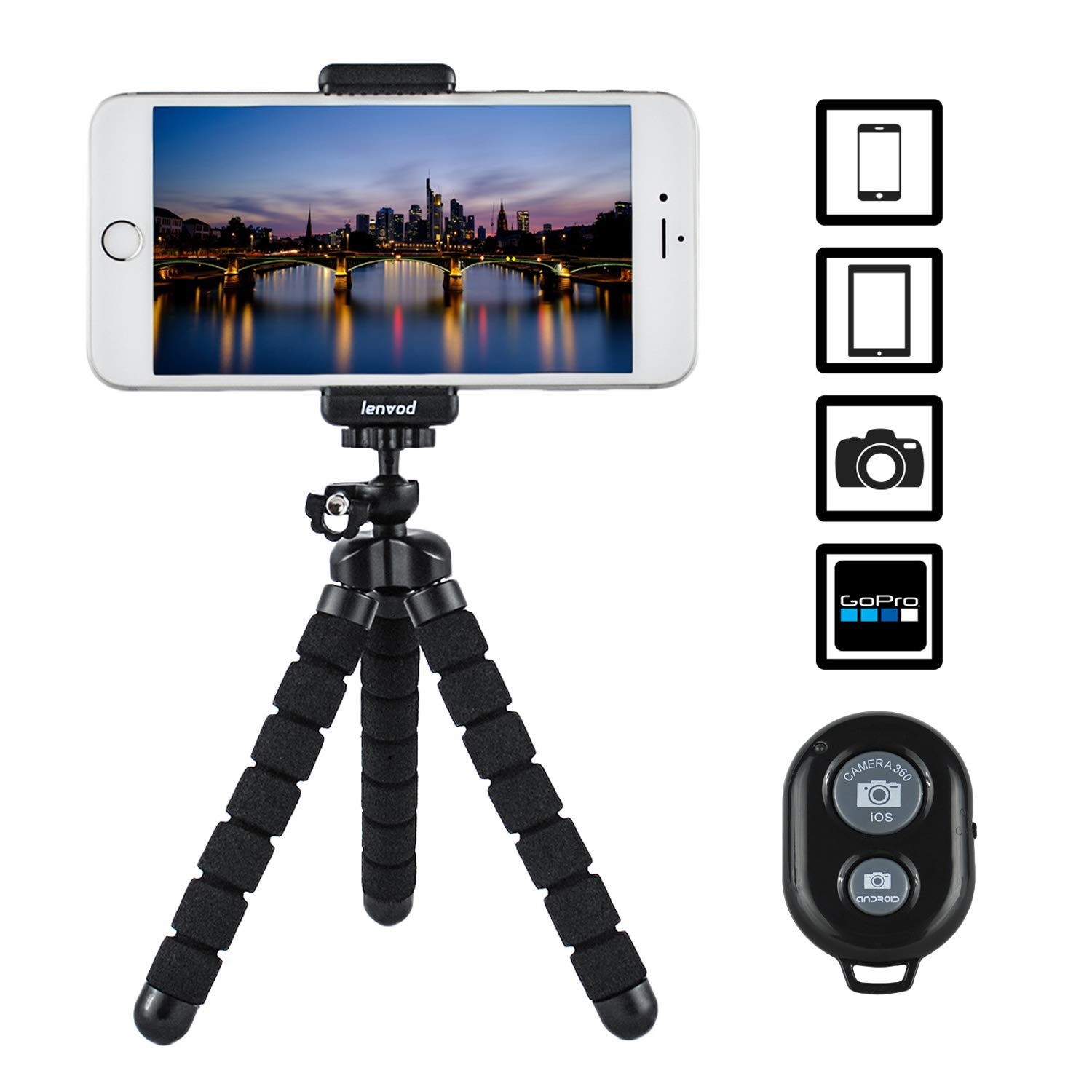 LENVOD – Cell Phone Tripod – Flexible iPhone Tripod for iPhone   Samsung   DSLR   GoPro – Portable Universal Camera Tripod Stand   Ball Head Octopus Tripod – with Remote Shutter Control iOS & Android