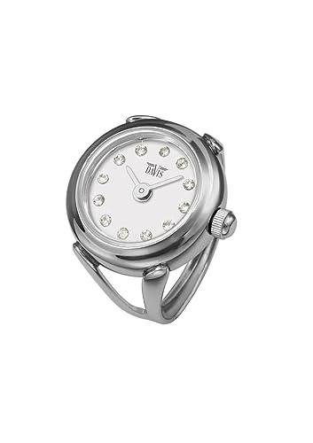 Davis 4172 - Reloj anillo ajustable para mujer, esfera blanca con cristal Swarovski, cristal de zafiro: Amazon.es: Relojes