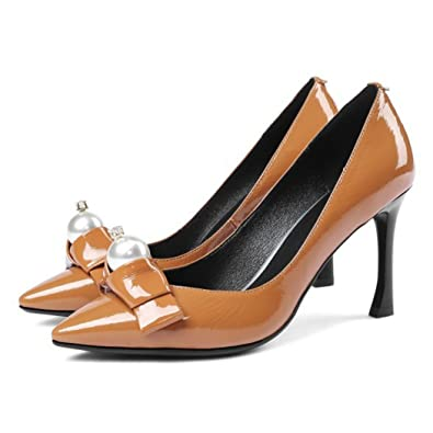 1ee484049c64c GAOLIXIA Womens Ladies Genuine Leather High Heels Pointed Contrast Court  Smart Party Work Shoes Pumps Black