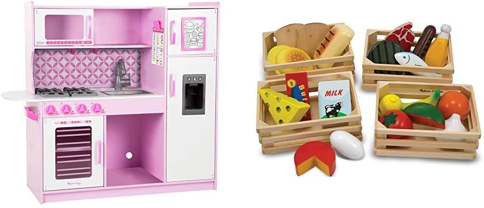 """Melissa & Doug Chef's Kitchen, Pretend Play Set, Cupcake (39"""" H x 43.25"""" W x 15.5"""" L) & Food Groups - Wooden Play Food, The Original (Kids Toy Best for 3, 4, 5, and 6 Year Olds)"""