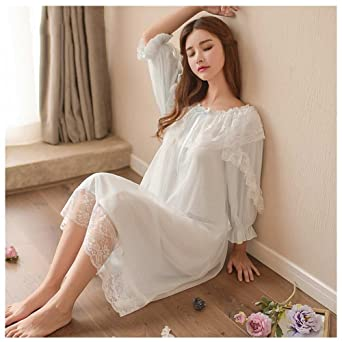 d26749c924 Women's Victorian Nightgown Vintage Sleepwear Lace Chemise Lounge Dress  Pajamas (Blue) at Amazon Women's Clothing store: