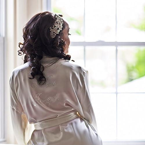 1ca585bbd1 Amazon.com  Customized Mrs. Rhinestone Satin Bridal Robe  Handmade
