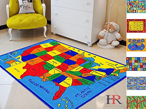 - Handcraft Rugs Educational Rugs United States Map for School Classroom/Game Carpets for Kids Toy Kids learning rug Kids Floor Rug.