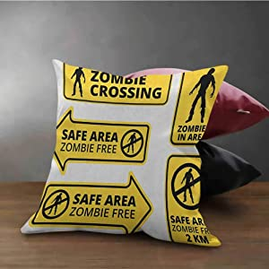 """Zombie Decorative Throw Pillow Covers Safe Area Zombie Free Safe Protection Zone Caution Sign from Horror Movie Design Soft Square Cushion Case Yellow Black (20""""x20"""")"""