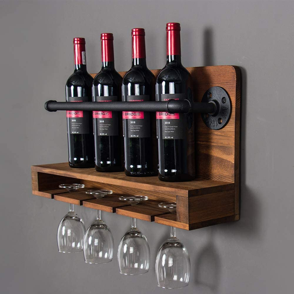 KINMADE Industrial Pipe Wine Racks Wall Mounted with Glass Holder, Pipe Wine Holder Wine Accessories Loft Style Creative Gift Home Decor Idea