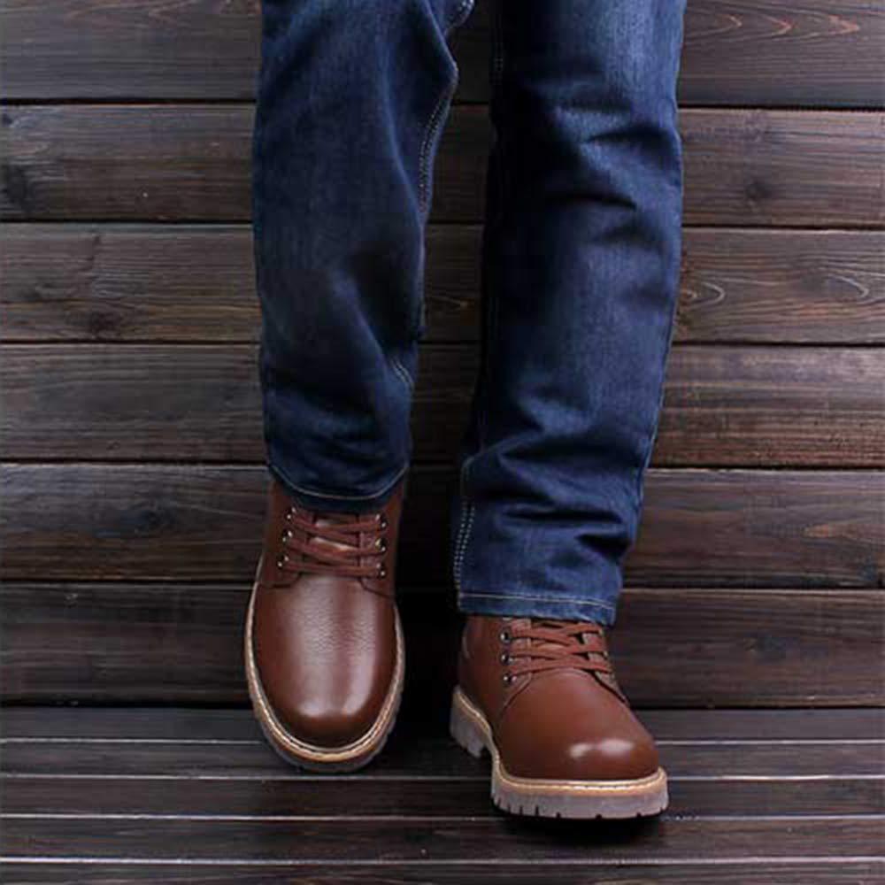 AILINSHA Stiefel Herrenmode Retro Stiefel Outdoor-Woork Stiefel Retro Leder Knöchel Schnee Stiefel Martin Stiefel 265578