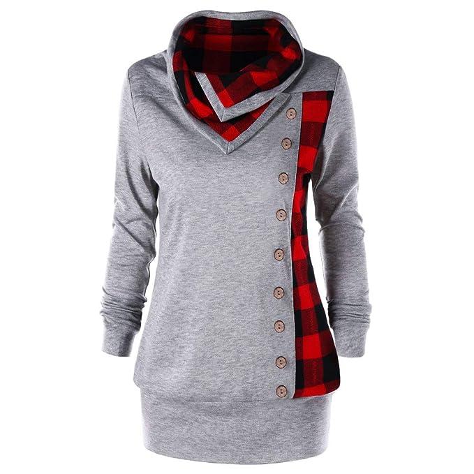 Womens Tops Fashion Long Sleeve Turn-Down Collar Pullover Casual Plaid Patchwork Tunic Sweatshirts ODGear