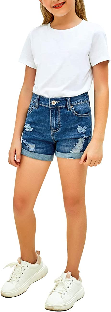 Vetinee Girls Ripped Denim Shorts High Rise Cuffed Hem Casual Destroyed Short Jeans 6-13 Years