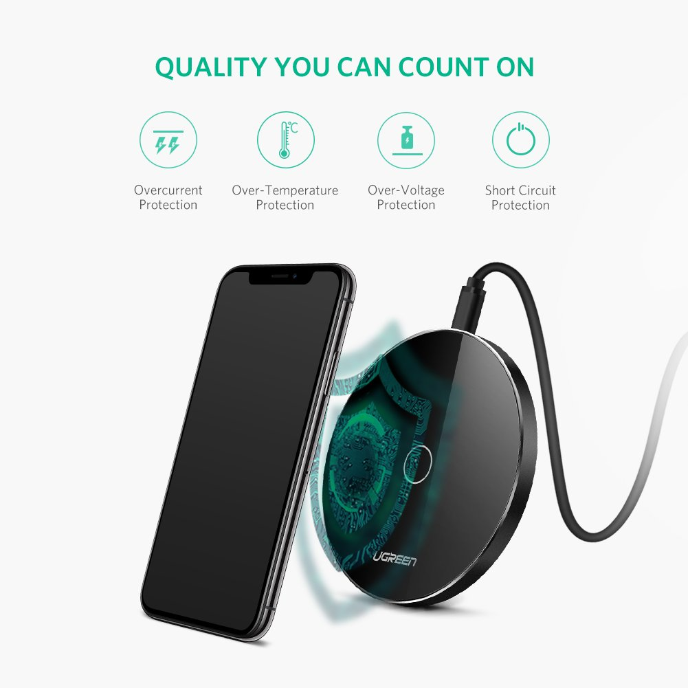 Mix 2S Mi A1 A2 UGREEN Cargador Inal/ámbrico R/ápido Qi Cargador 10W Carga R/ápida y 5W Carga Est/ándar Fast Wireless Charger Compatible con S9 Plus S8 S7 V30 G7. X XS MAX 8 Plus