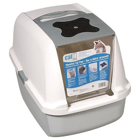 Caja de arena para gatos con 2 filtros de repuesto de FREE (gris)