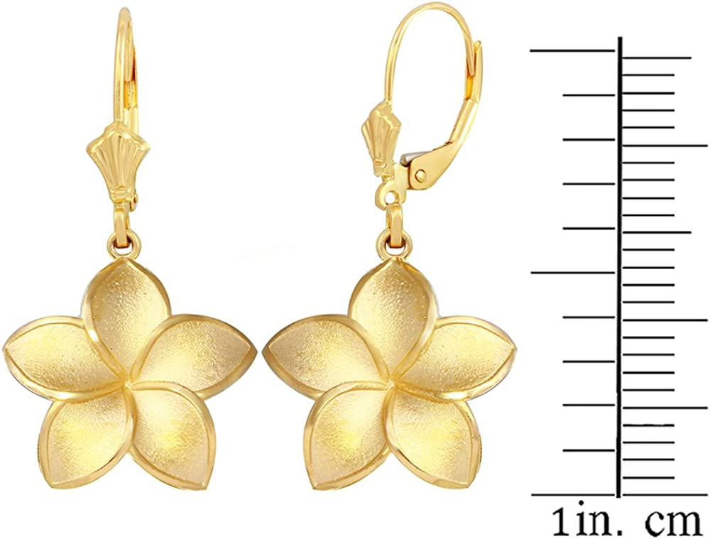 14k Solid Yellow Gold Hawaiian Plumeria Flower Leverback Dangling Earring