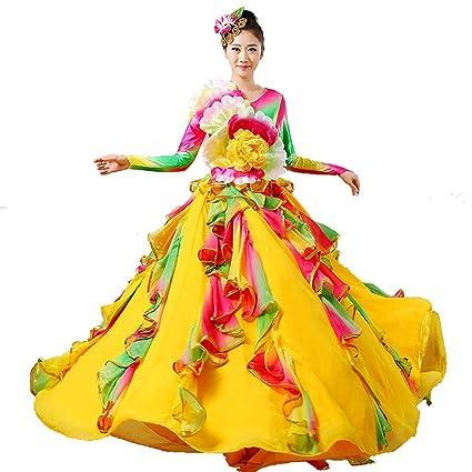 Wgwioo Mujeres Adultas Bailan Vestidos de Flamenco Apertura ...