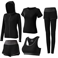 Nesyd Women's 5 Piece Workout Sets Yoga Outfits Sport Running Fitness Exercise Gym Athletic Tracksuits Sportwear Activewear