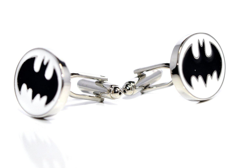 Bleu Boî te en velours –  de luxe Batman Noir et Blanc Boutons de manchette –  Bat Man logo vintage pour homme RJ