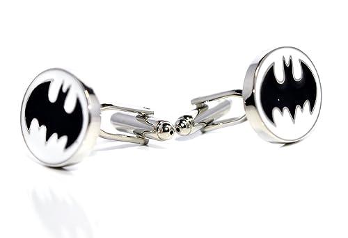 60f680666859 Bleu Boîte en velours – de luxe Batman Noir et Blanc Boutons de manchette –  Bat