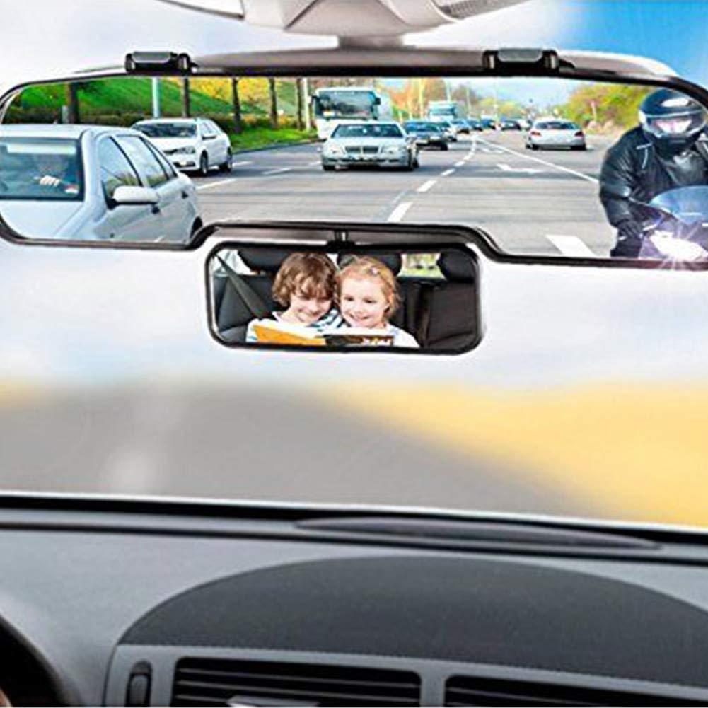 SAXTEL Espejo retrovisor para Coche + Vista para niños, Espejo retrovisor Universal 2 en 1, Doble ángulo Interior, Espejo retrovisor Universal para ...