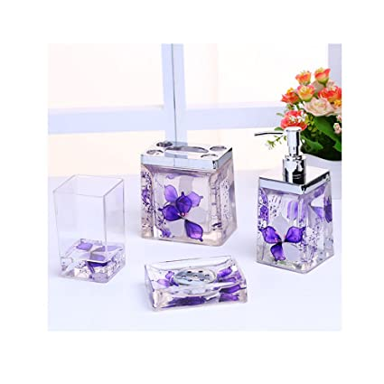 Amazon Com High Grade Acrylic Crystal Bathroom Accessories Set 4