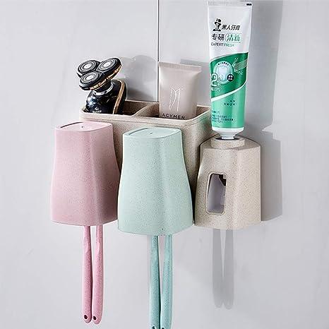 Conjunto del titular del cepillo de dientes Antipolvo Dispensador de pasta de dientes automáticoAccesorios de baño