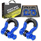 """AUTOBOTS Bow Shackle 3/4"""" D-Ring Blue Shackle (2 Pack), 41,887Ib Break Strength with 7/8"""" Pin, 2 Black Isolator and 4 Washers Kit for Off-Road Jeep Vehicle Recovery"""