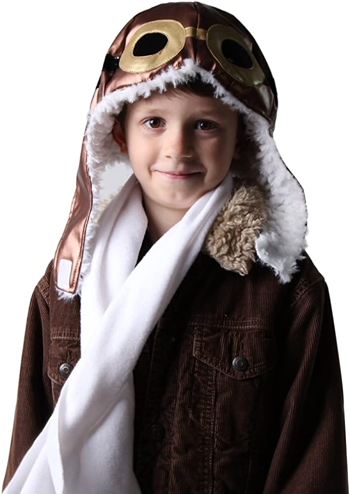 Kids Aviator Dress Up Costume (Choose Style) (One Size, Aviator Hat and Scarf Set)