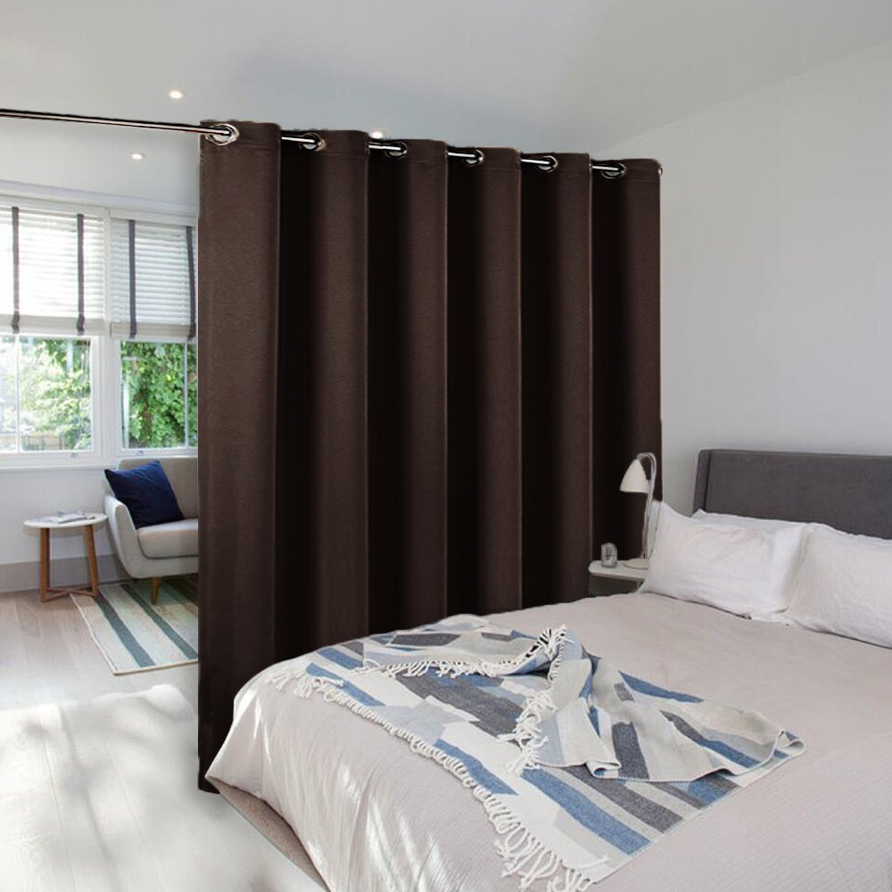 NICETOWN Room Divider Curtain Screen Partitions, Full Length Hospital Medical Clinic Spa Lab Cubicle Curtain Divider Privacy Screen, Patio Door Curtain (One Panel,10ft Wide x 9ft Long,Brown)