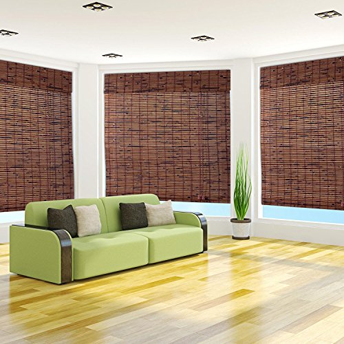 Arlo Blinds Java Vintage Light Filtering Bamboo Roman Shades Blinds with Valance - Size: 37