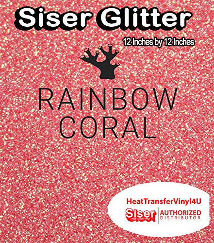 Siser Glitter Iron On Heat Transfer Vinyl 12 Inches by 12 Inches (Rainbow -