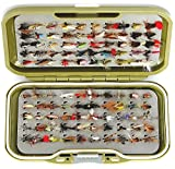 GS-V Fly Box set + Assortment of BARBLESS Trout Fishing Flies UK, Dry, Wet, Nymph Buzzer Flies in Hook sizes 10, 12 & 14 and Qty's 10, 25, 50 & 100's (GS-V + BARBLESS Flies Size 10-14 (Qty 50))