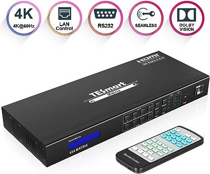 Amazon Com Tesmart Ultra Hd 4k Hdmi 4x4 Matrix Switcher 4 Puertos De Entrada Y 4 Puertos De Salida Con Rs232 Ir Remote Control Soporta 4kx2k 60hz Hdcp 2 2 3d Y Deep Color Home