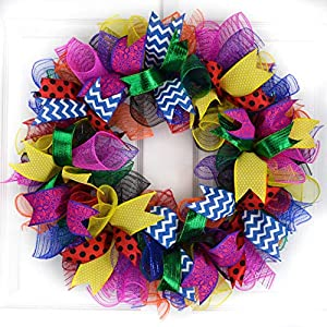 Teacher Birthday Party Superhero Mesh Door Wreath | Orange Blue Red Yellow Pink Black Green Purple 49