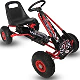 Kiddo 2017 Racer Design Red Kids Childrens Pedal Go-Kart Ride-On Car, Adjustable Seat, Rubber Tyres - Suitable For 4 to 8 Years - New