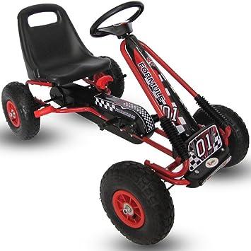 Kiddo RG0209 - Pedal para niños con diseño de Carrera, Color Rojo, para Montar