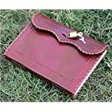 QualityArt Handmade Leather Journal Real Lock and Key Notebook Diary Sketchbook Thought Book 10x7 Inches