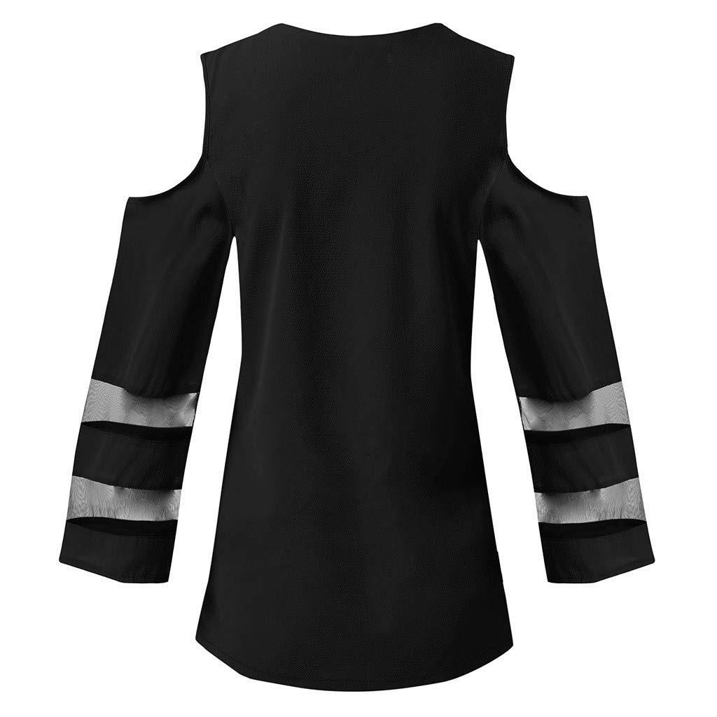 Hosamtel Women Chiffon Blouse V-Neck 3//4 Bell Sleeve Mesh Patchwork Elegant Casual Loose Top Shirt