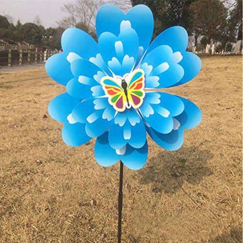 Onpiece Two-layer Butterfly Peony Flower Colourful Wind Spinner Windmill Home Garden Decor (Butterfly Wind Spinner)
