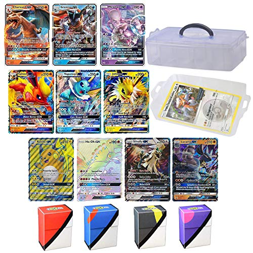 Totem World 10 Jumbo Pokemon Cards in Clear Collectors Storage Case - 1 Full Art Mega, 1 Mega EX, 3 GX and 5 EX Oversize Cards (Best Pokemon In The World)