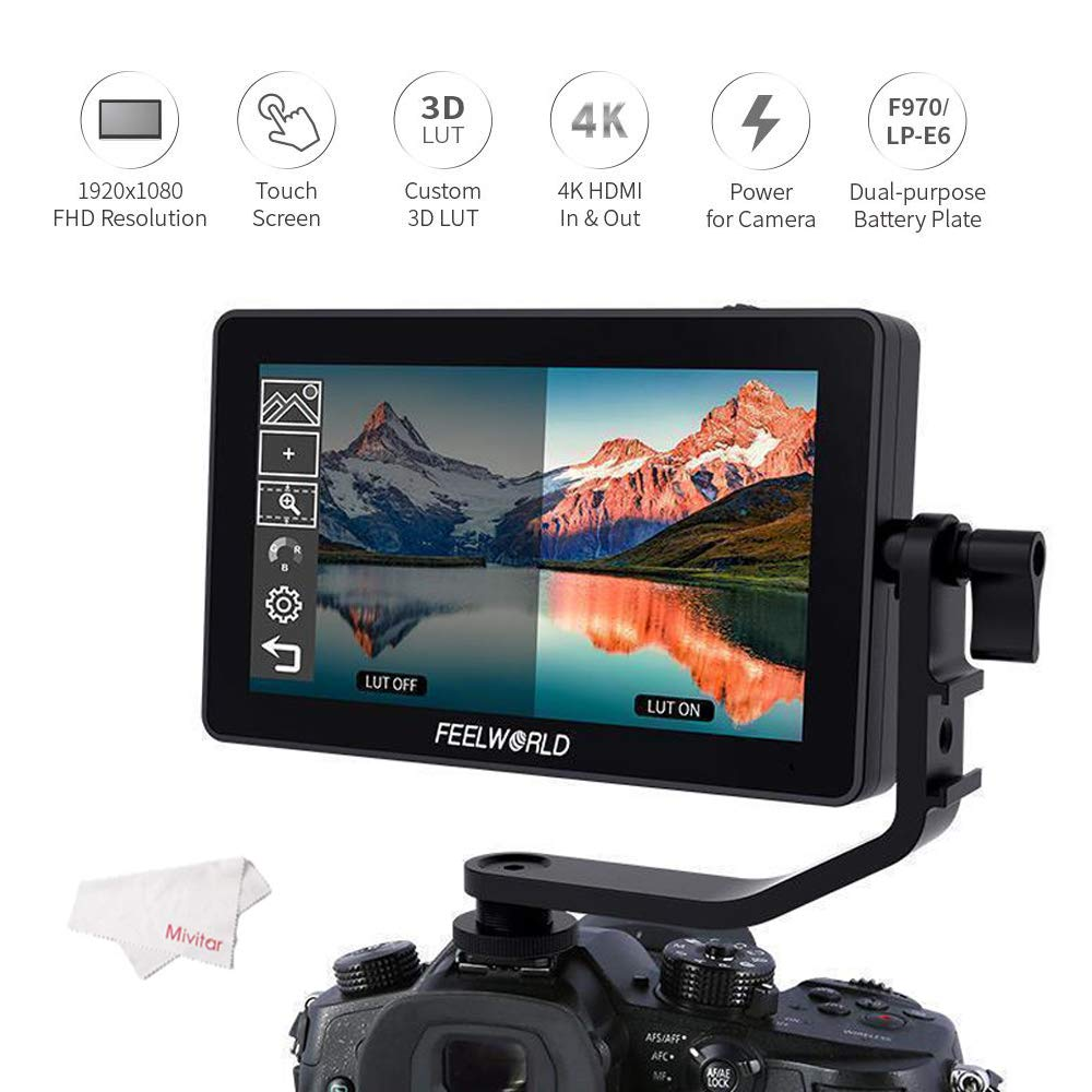 FEELWORLD F6 Plus 5.5 Inch 1920x1080 Suppor 4K 3D LUT Touch Screen DSLR Camera Field Monitor for DSLR Cameras and Gimbal Stabilizer