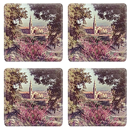 MSD Square Coasters Non-Slip Natural Rubber Desk Coasters design 26574239 view of the cathedral Santa Croce in Florence Tuscany Italy framed with green leaves and flowers image filtered to simula